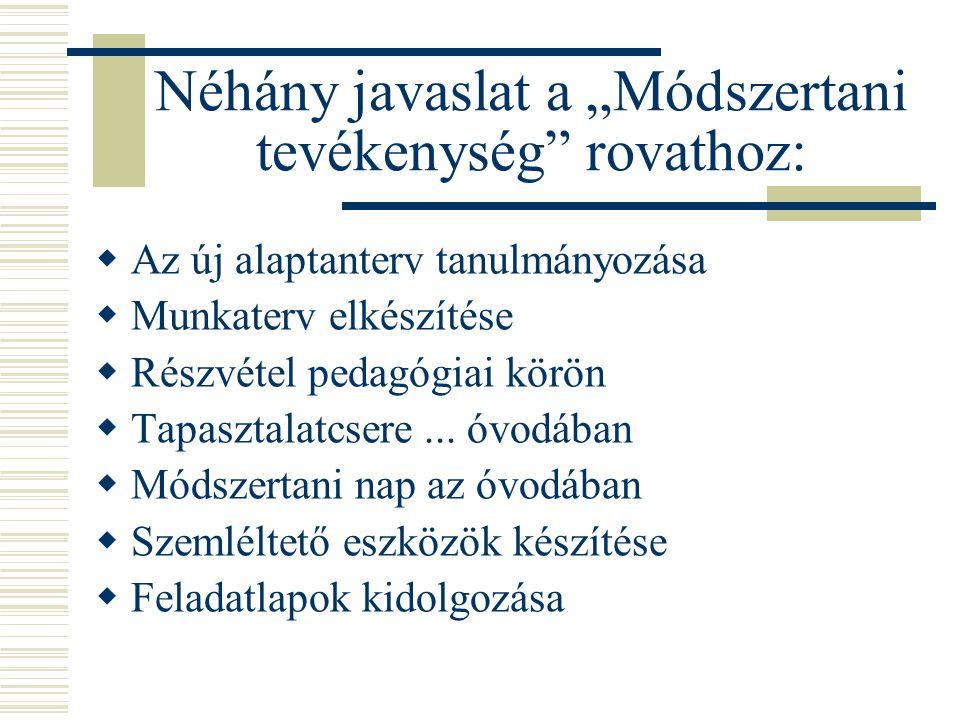 """Néhány javaslat a """"Módszertani tevékenység rovathoz:"""