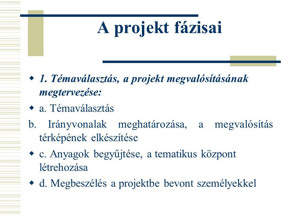 A projekt fázisai 1. Témaválasztás, a projekt megvalósításának megtervezése: a. Témaválasztás.