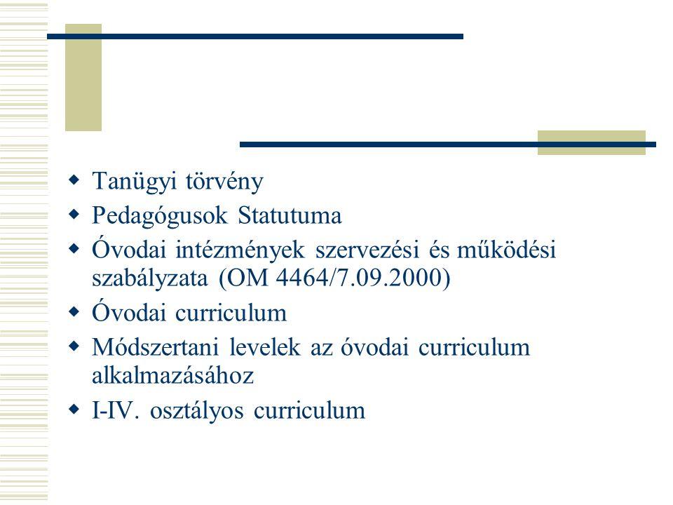 Tanügyi törvény Pedagógusok Statutuma. Óvodai intézmények szervezési és működési szabályzata (OM 4464/7.09.2000)
