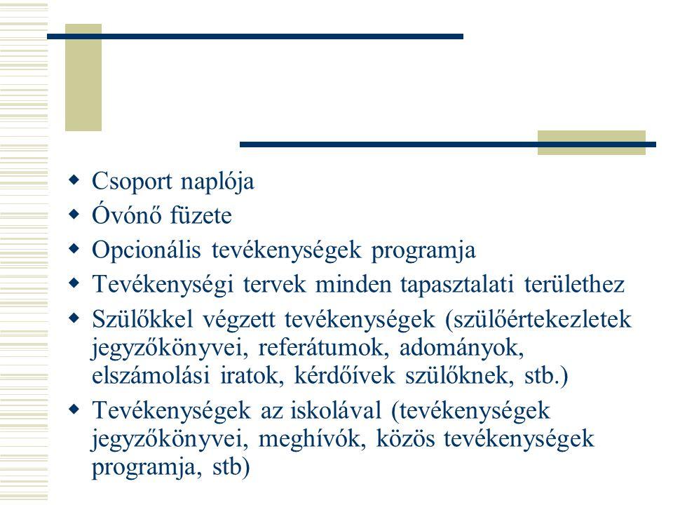 Csoport naplója Óvónő füzete. Opcionális tevékenységek programja. Tevékenységi tervek minden tapasztalati területhez.