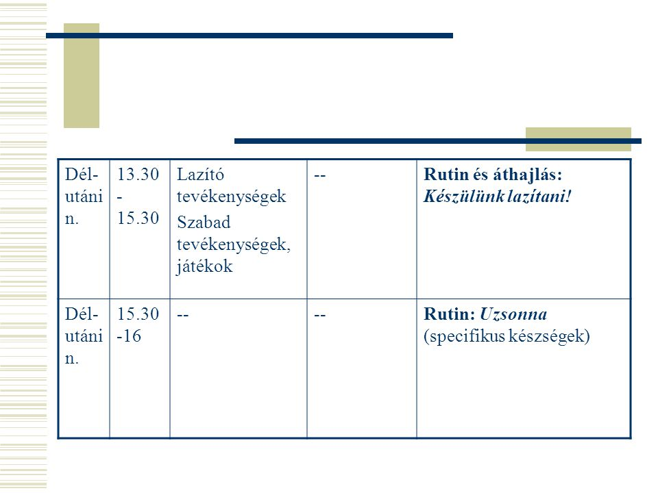 Dél-utáni n. 13.30-15.30. Lazító tevékenységek. Szabad tevékenységek, játékok. -- Rutin és áthajlás: Készülünk lazítani!