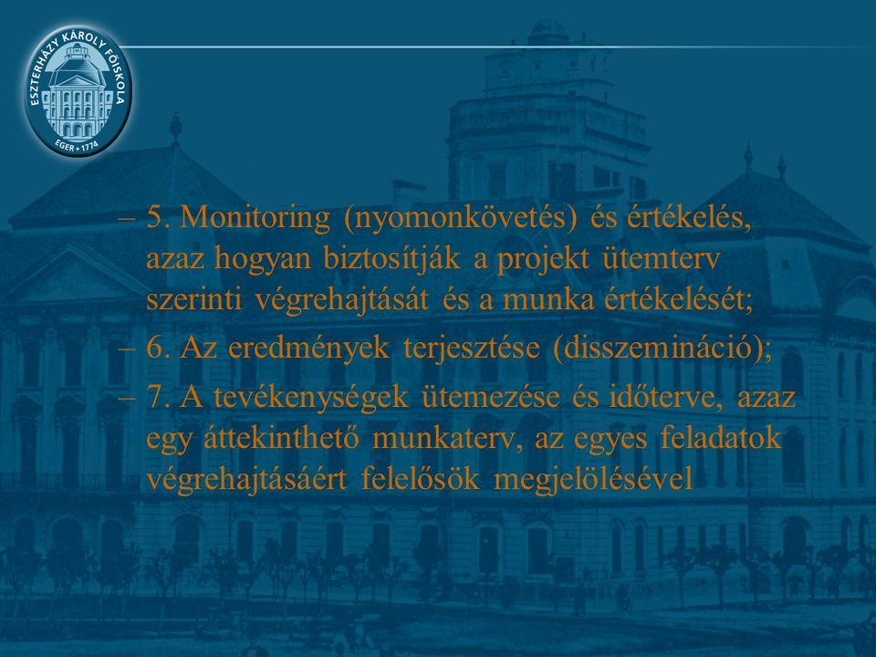 5. Monitoring (nyomonkövetés) és értékelés, azaz hogyan biztosítják a projekt ütemterv szerinti végrehajtását és a munka értékelését;