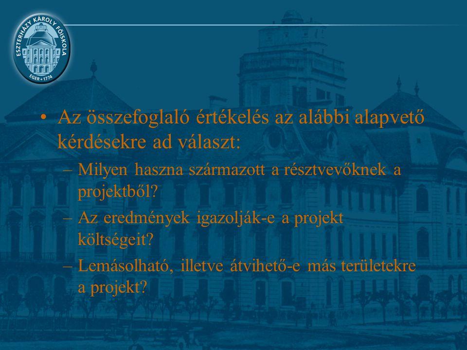 Az összefoglaló értékelés az alábbi alapvető kérdésekre ad választ: