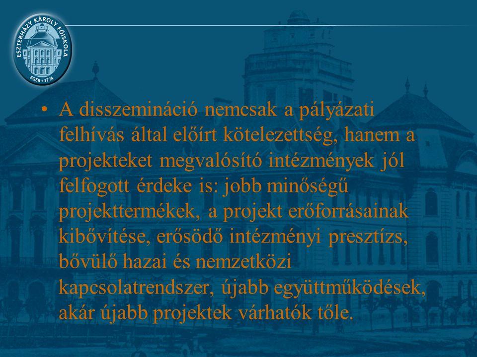 A disszemináció nemcsak a pályázati felhívás által előírt kötelezettség, hanem a projekteket megvalósító intézmények jól felfogott érdeke is: jobb minőségű projekttermékek, a projekt erőforrásainak kibővítése, erősödő intézményi presztízs, bővülő hazai és nemzetközi kapcsolatrendszer, újabb együttműködések, akár újabb projektek várhatók tőle.