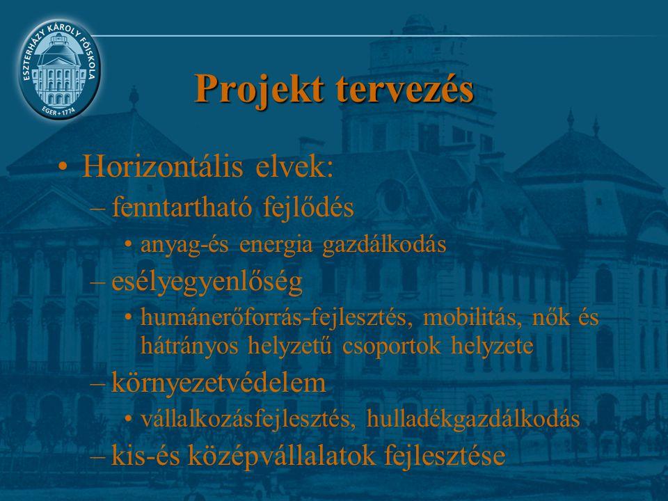 Projekt tervezés Horizontális elvek: fenntartható fejlődés