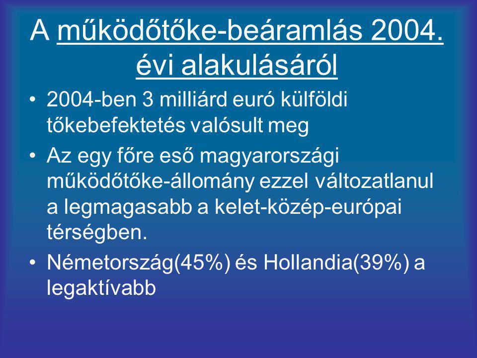 A működőtőke-beáramlás 2004. évi alakulásáról
