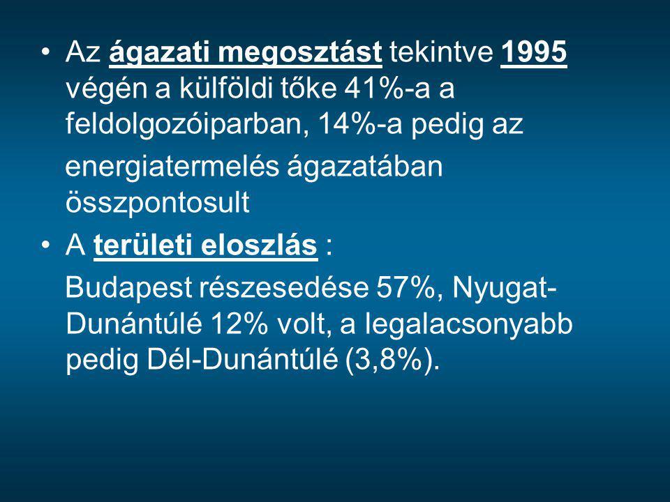 Az ágazati megosztást tekintve 1995 végén a külföldi tőke 41%-a a feldolgozóiparban, 14%-a pedig az