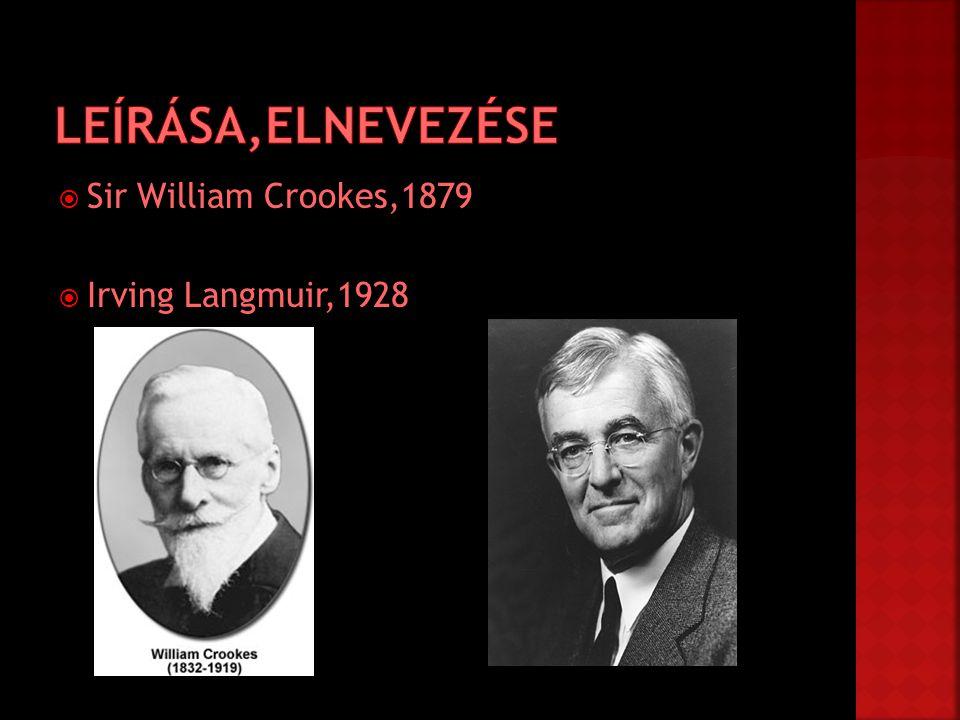 Leírása,Elnevezése Sir William Crookes,1879 Irving Langmuir,1928