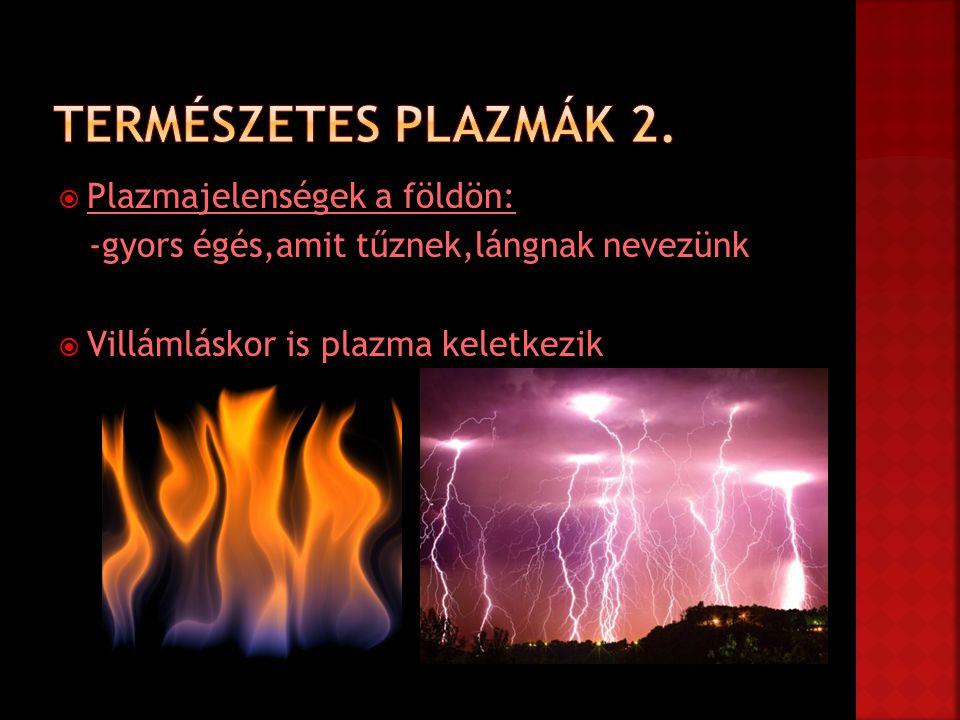 Természetes plazmák 2. Plazmajelenségek a földön: