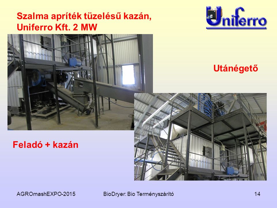 Szalma apríték tüzelésű kazán, Uniferro Kft. 2 MW