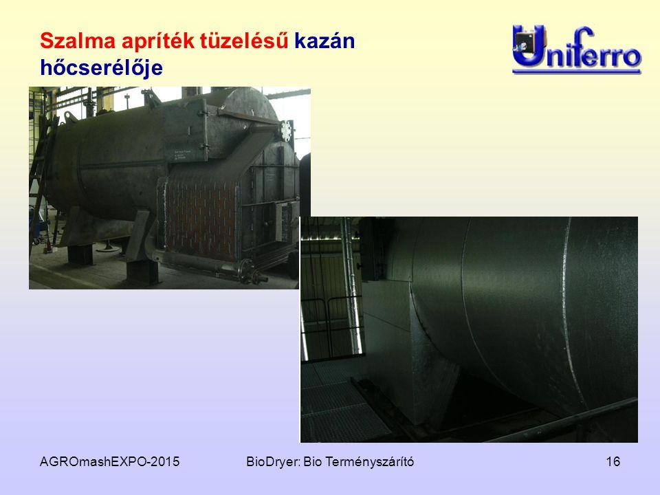 Szalma apríték tüzelésű kazán hőcserélője