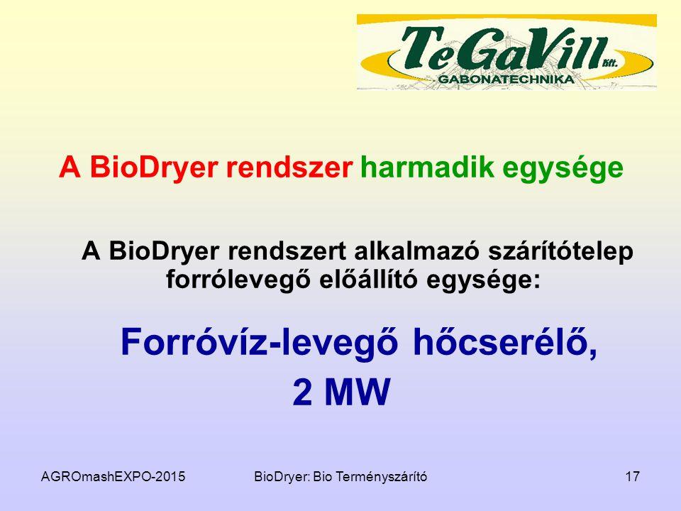 A BioDryer rendszer harmadik egysége