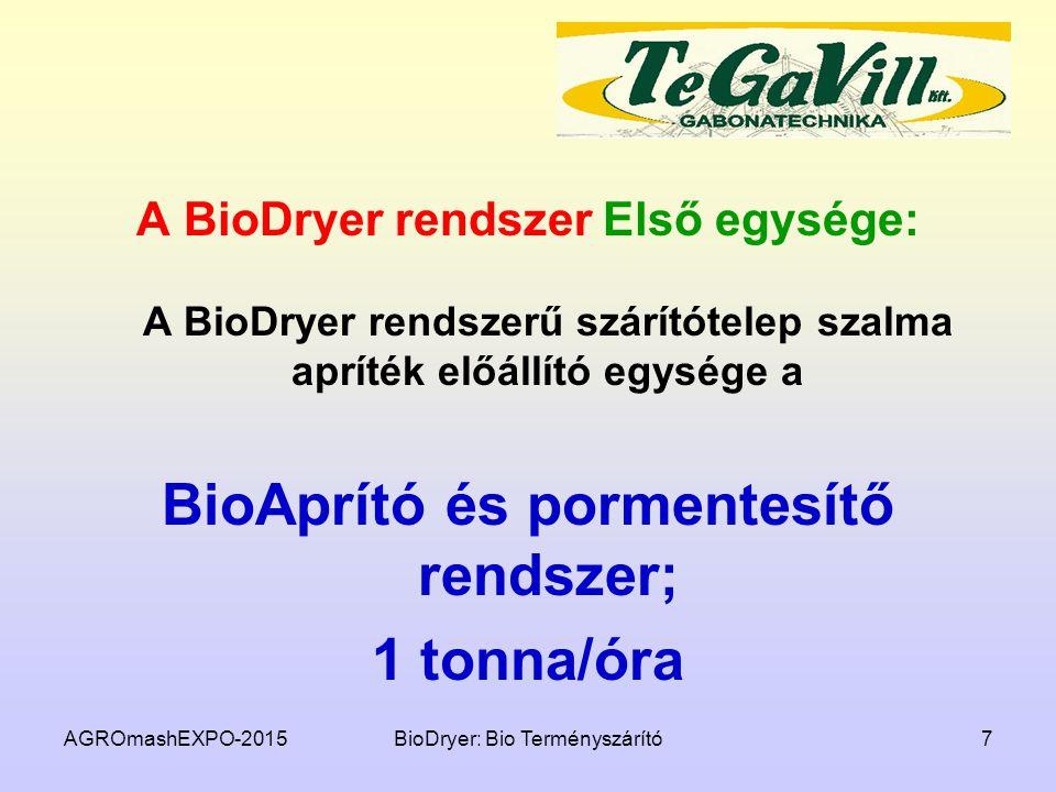 BioAprító és pormentesítő rendszer;