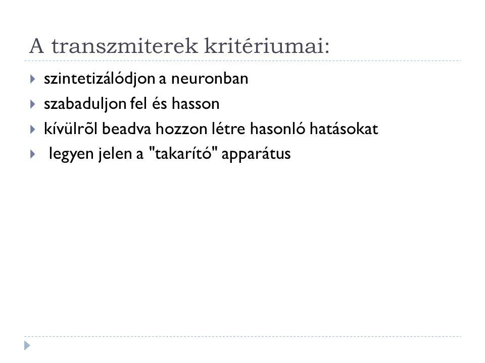A transzmiterek kritériumai: