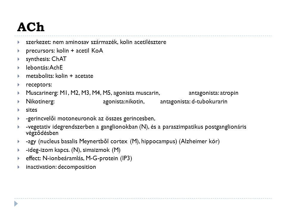 ACh szerkezet: nem aminosav származék, kolin acetilésztere