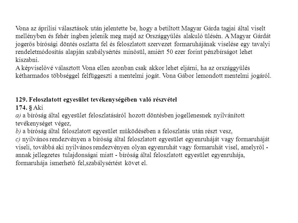 Vona az áprilisi választások után jelentette be, hogy a betiltott Magyar Gárda tagjai által viselt mellényben és fehér ingben jelenik meg majd az Országgyűlés alakuló ülésén. A Magyar Gárdát jogerős bírósági döntés oszlatta fel és feloszlatott szervezet formaruhájának viselése egy tavalyi rendeletmódosítás alapján szabálysértés minősül, amiért 50 ezer forint pénzbírságot lehet kiszabni.