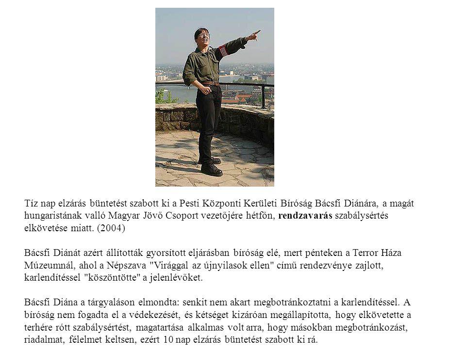 Tíz nap elzárás büntetést szabott ki a Pesti Központi Kerületi Bíróság Bácsfi Diánára, a magát hungaristának valló Magyar Jövő Csoport vezetőjére hétfőn, rendzavarás szabálysértés elkövetése miatt. (2004)