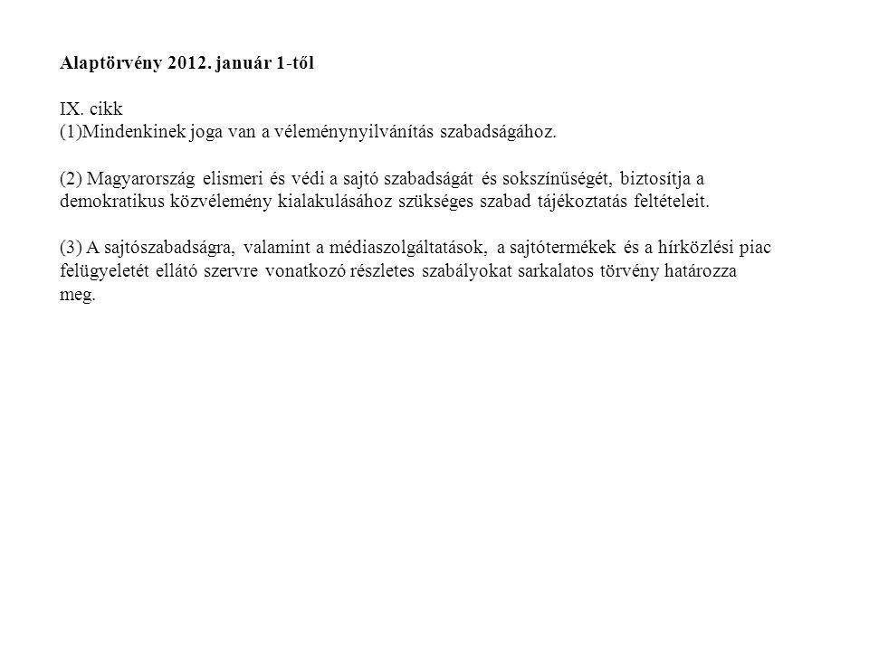Alaptörvény 2012. január 1-től