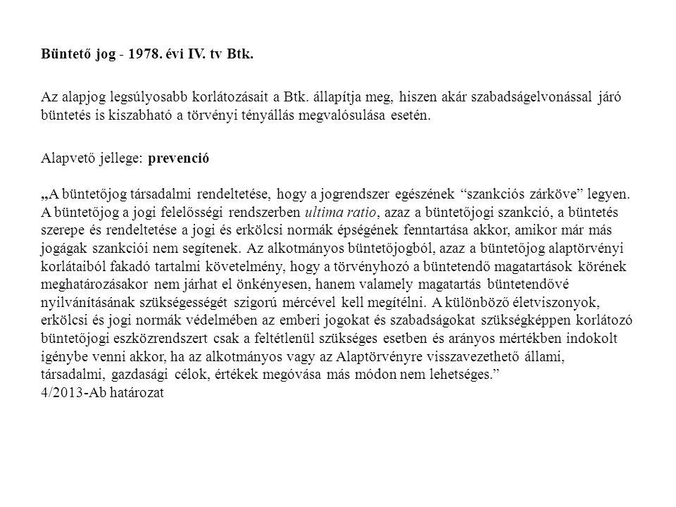 Büntető jog - 1978. évi IV. tv Btk.