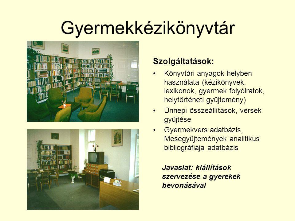 Gyermekkézikönyvtár Szolgáltatások: