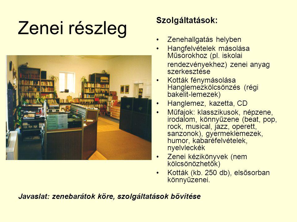 Zenei részleg Szolgáltatások: Zenehallgatás helyben