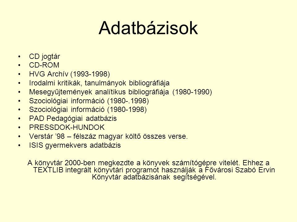 Adatbázisok CD jogtár CD-ROM HVG Archív (1993-1998)