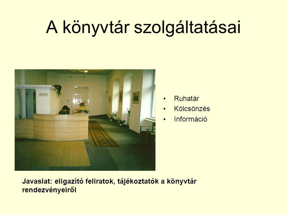 A könyvtár szolgáltatásai