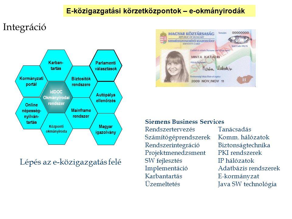 Integráció Lépés az e-közigazgatás felé