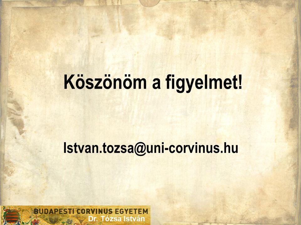 Köszönöm a figyelmet! Istvan.tozsa@uni-corvinus.hu Dr. Tózsa István