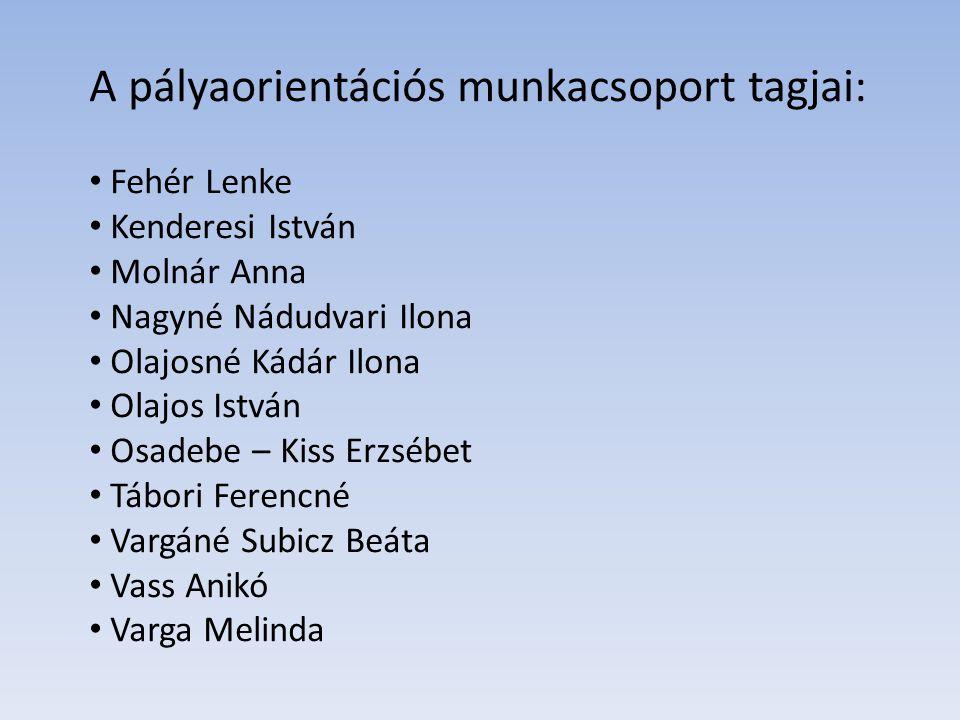 A pályaorientációs munkacsoport tagjai:
