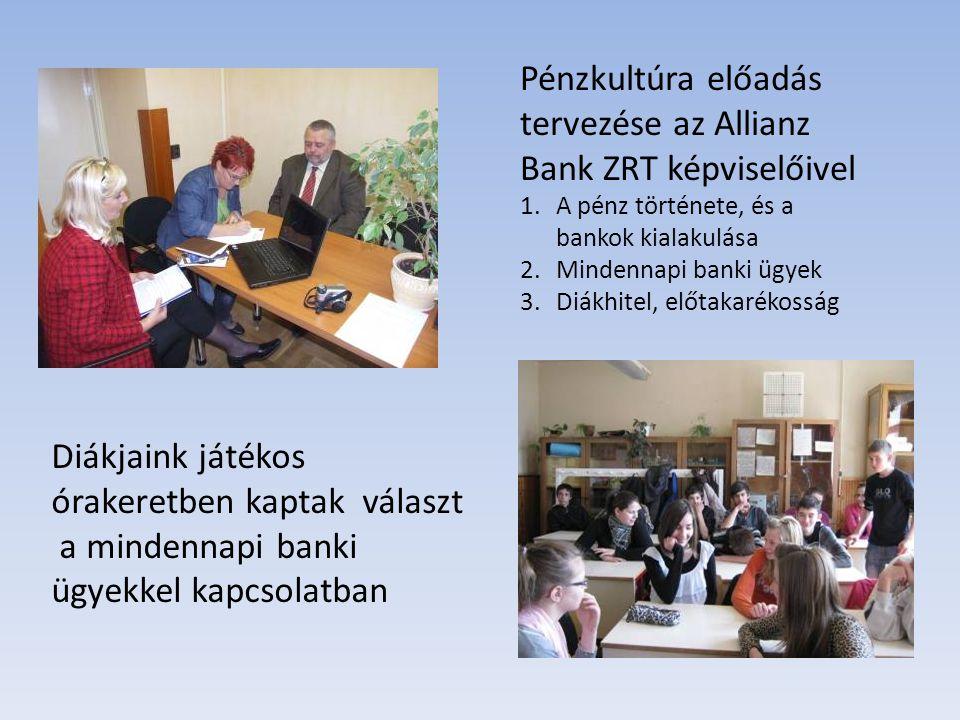 Pénzkultúra előadás tervezése az Allianz Bank ZRT képviselőivel