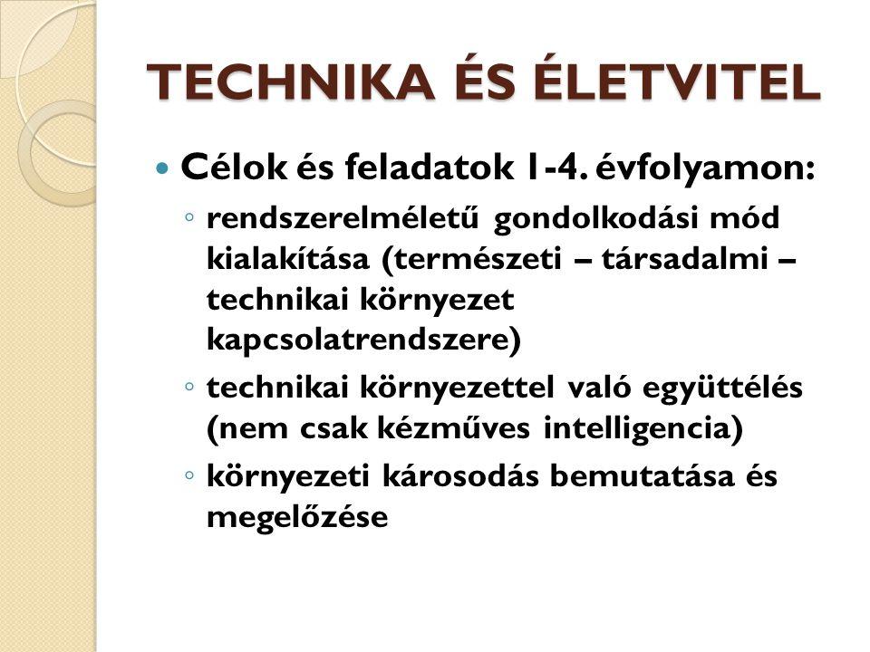TECHNIKA ÉS ÉLETVITEL Célok és feladatok 1-4. évfolyamon: