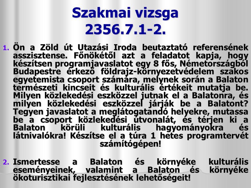 Szakmai vizsga 2356.7.1-2.