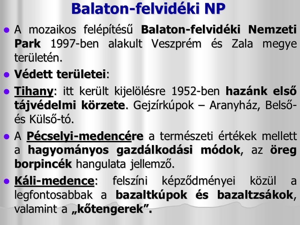 Balaton-felvidéki NP A mozaikos felépítésű Balaton-felvidéki Nemzeti Park 1997-ben alakult Veszprém és Zala megye területén.
