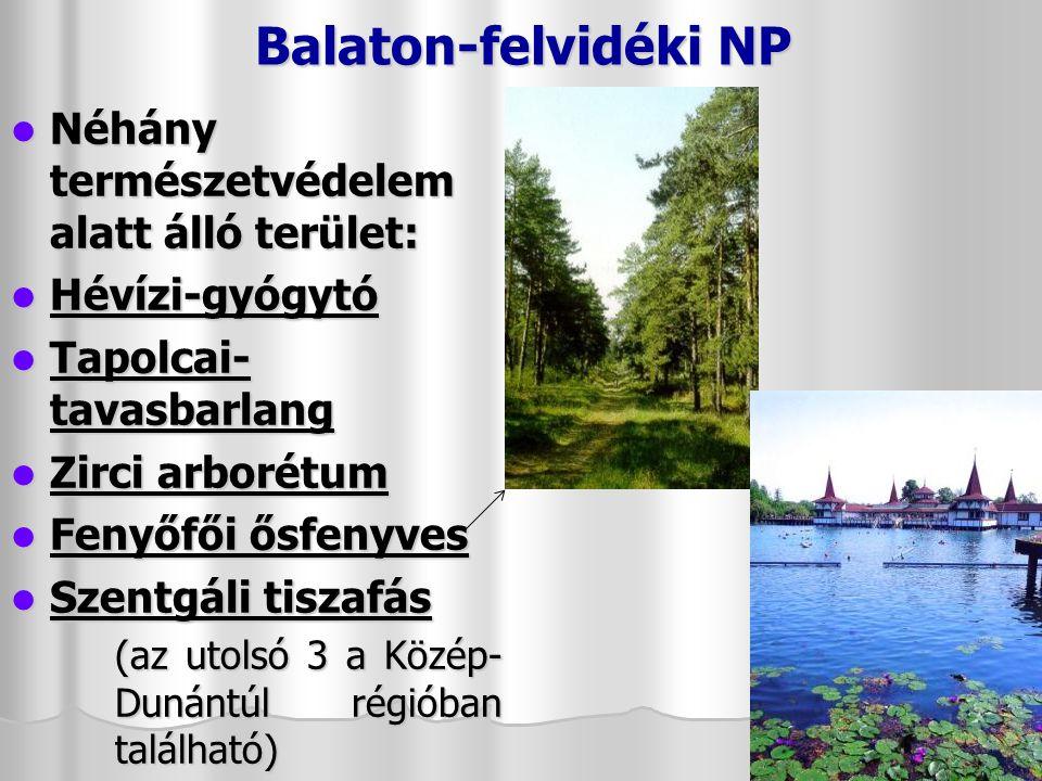 Balaton-felvidéki NP Néhány természetvédelem alatt álló terület: