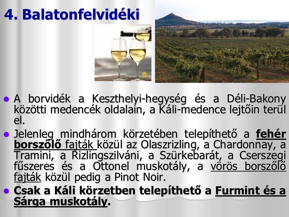 4. Balatonfelvidéki A borvidék a Keszthelyi-hegység és a Déli-Bakony közötti medencék oldalain, a Káli-medence lejtőin terül el.