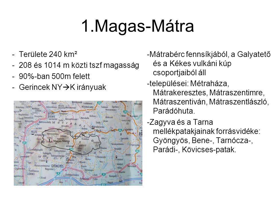 1.Magas-Mátra Területe 240 km² 208 és 1014 m közti tszf magasság