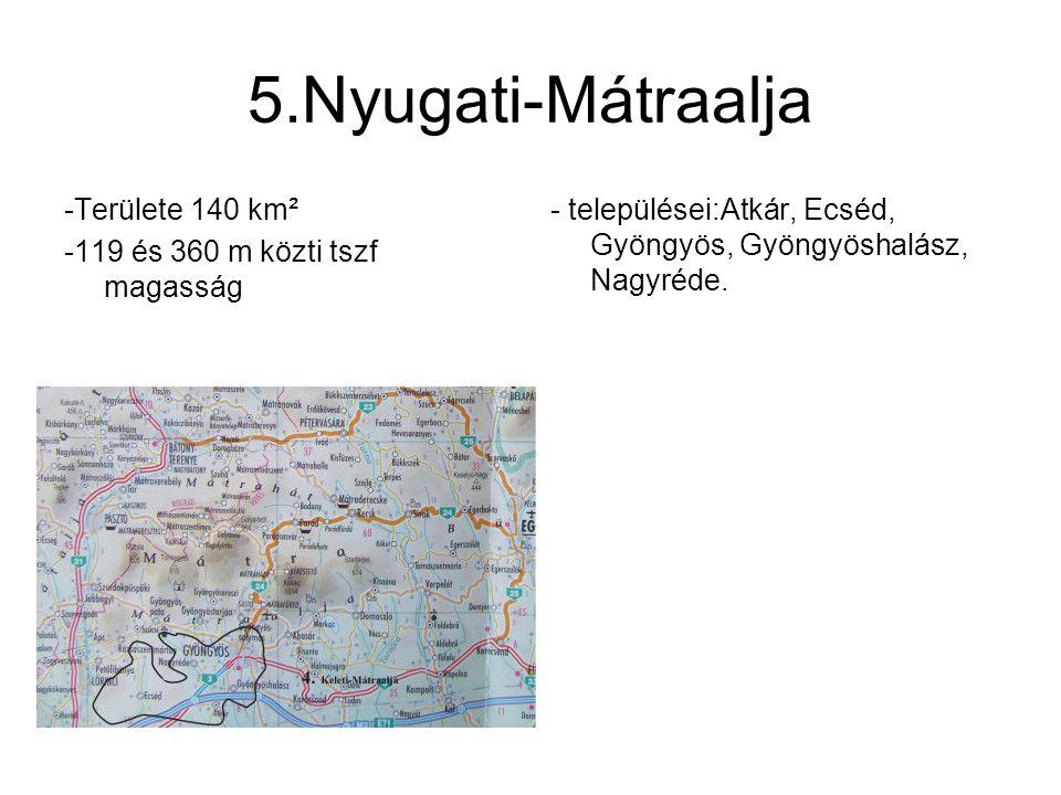 5.Nyugati-Mátraalja -Területe 140 km²