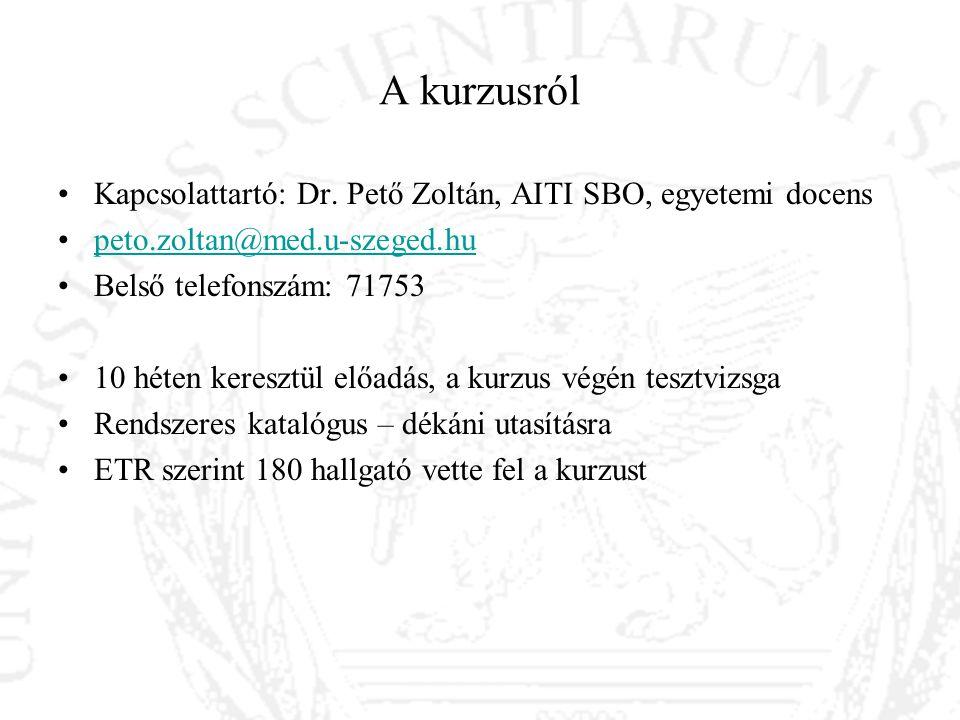 A kurzusról Kapcsolattartó: Dr. Pető Zoltán, AITI SBO, egyetemi docens