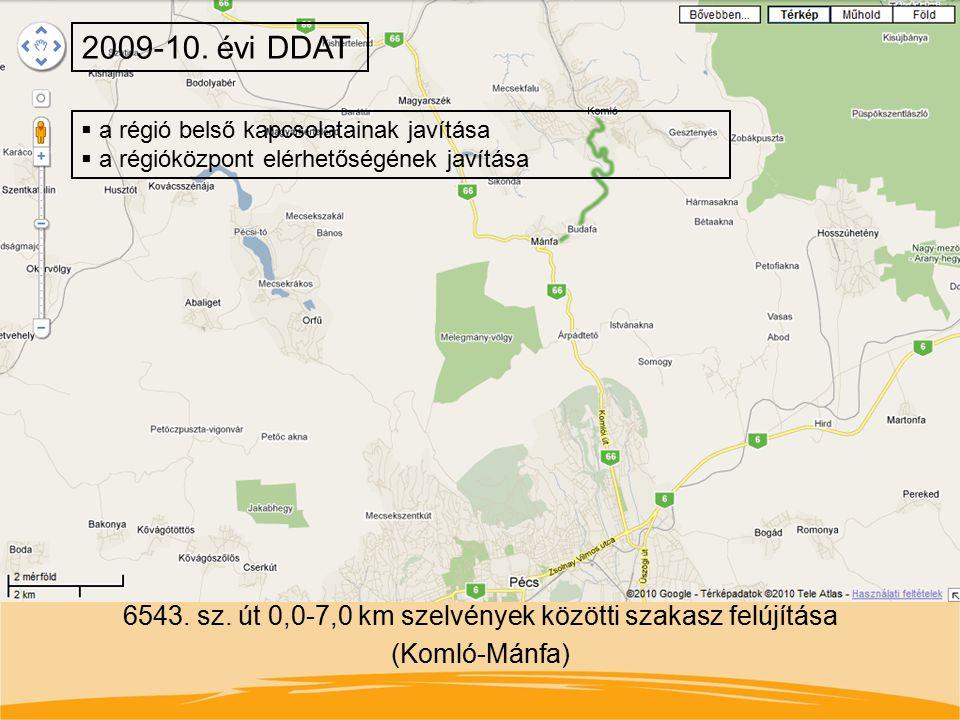 2009-10. évi DDAT a régió belső kapcsolatainak javítása. a régióközpont elérhetőségének javítása.