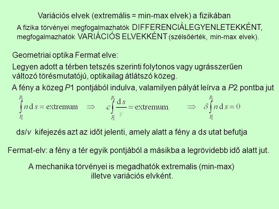 Variációs elvek (extremális = min-max elvek) a fizikában