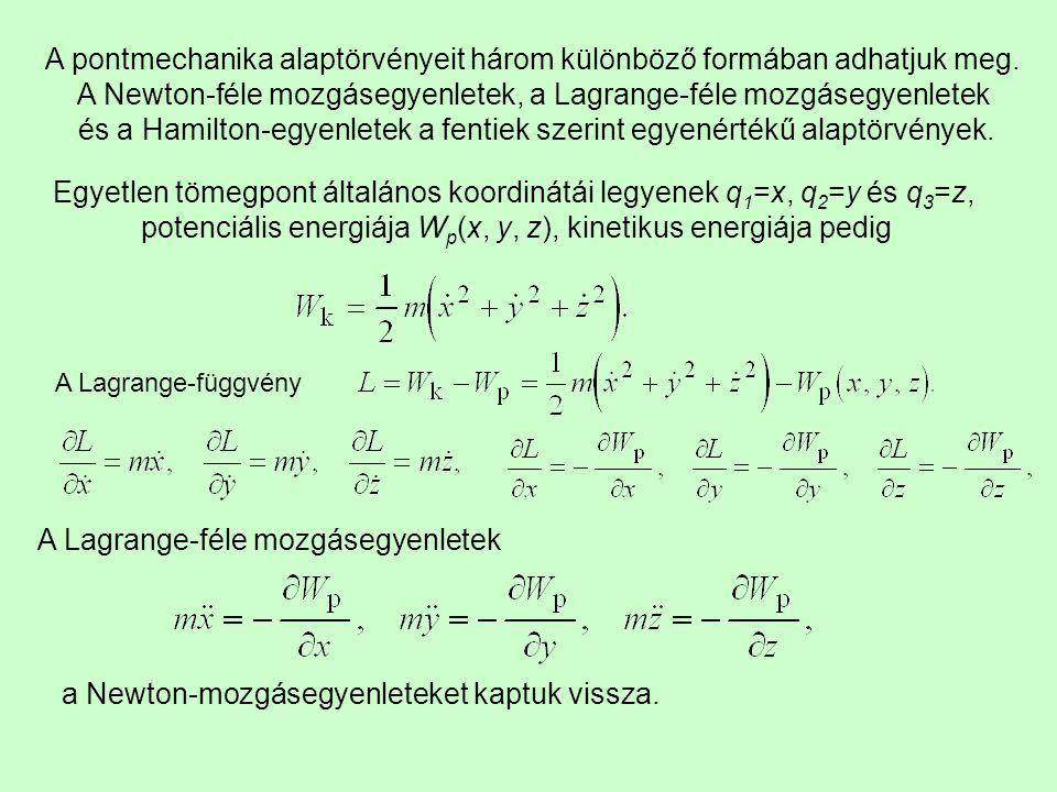 A pontmechanika alaptörvényeit három különböző formában adhatjuk meg.