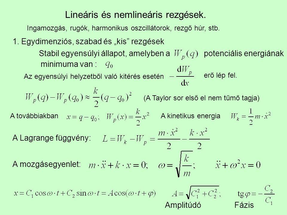 Lineáris és nemlineáris rezgések.
