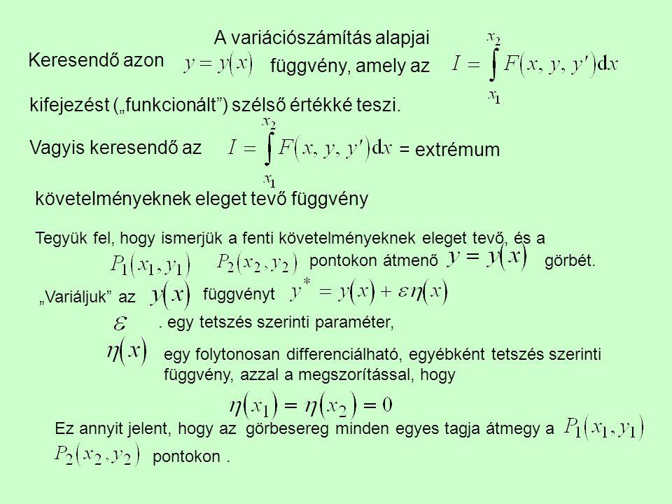 A variációszámítás alapjai Keresendő azon függvény, amely az