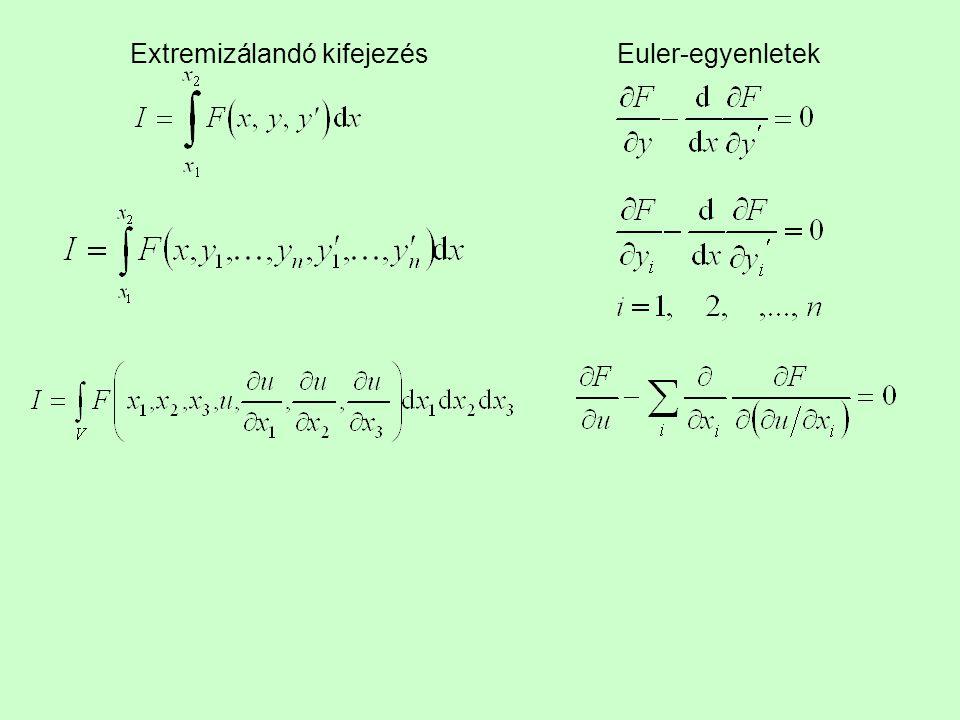 Extremizálandó kifejezés Euler-egyenletek