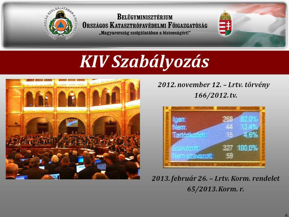 KIV Szabályozás 2012. november 12. – Lrtv. törvény 166/2012. tv.