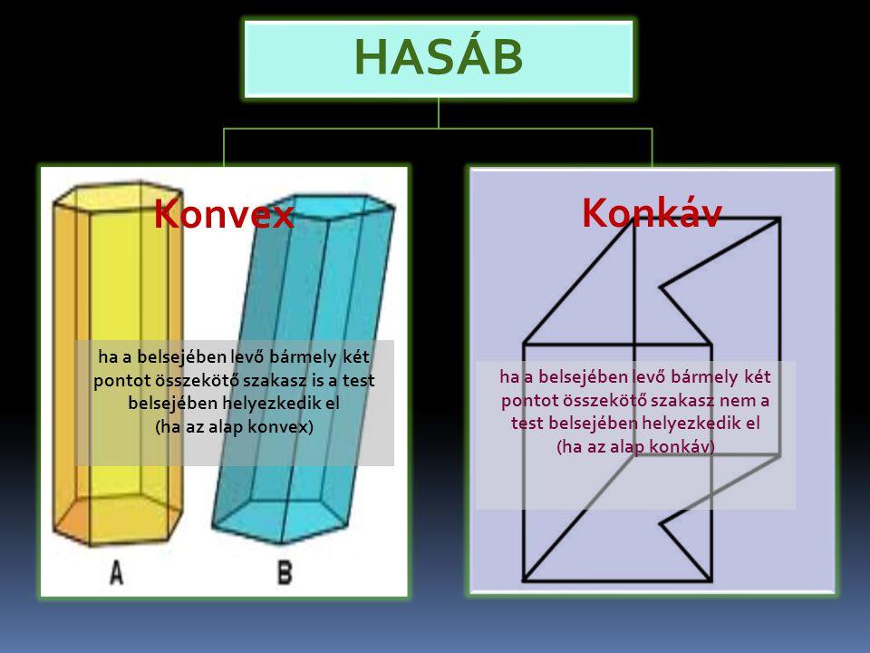 HASÁB Konvex. Konkáv. ha a belsejében levő bármely két pontot összekötő szakasz is a test belsejében helyezkedik el.