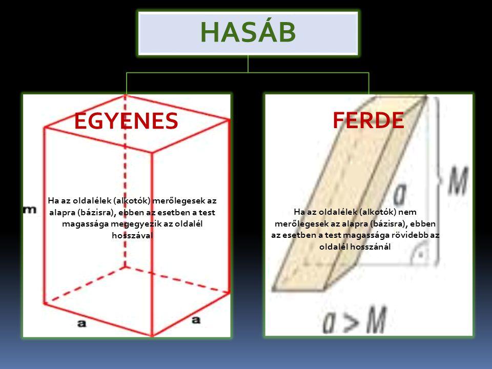HASÁB EGYENES. FERDE. Ha az oldalélek (alkotók) merőlegesek az alapra (bázisra), ebben az esetben a test magassága megegyezik az oldalél hosszával.
