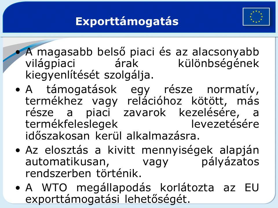 Exporttámogatás A magasabb belső piaci és az alacsonyabb világpiaci árak különbségének kiegyenlítését szolgálja.