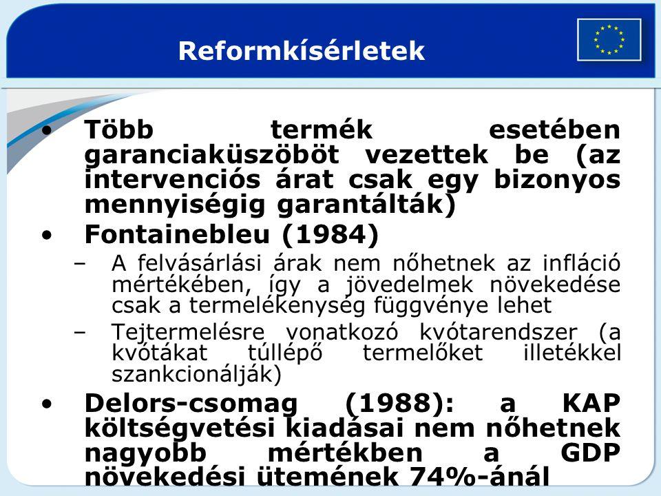Reformkísérletek Több termék esetében garanciaküszöböt vezettek be (az intervenciós árat csak egy bizonyos mennyiségig garantálták)